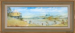 Sale 9199J - Lot 63 - Maynard Waters (1936 - ) - Untitled (By the Lake) 29cm x 90 cm (frame: 49 x 110 x 4 cm)