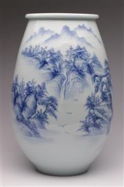 Sale 9078 - Lot 17 - Blue & White Landscape Scene Vase (H: 38cm)