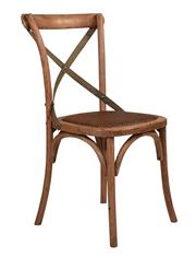 Sale 9075T - Lot 60 - Set of 6 Solid Oak cross back chairs with aged textured  green/green  metal straps H: 88 x W: 49 x D: 52