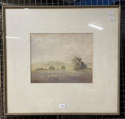 Sale 9113 - Lot 2009 - Victor Robert Watt, Sheep Grazing, watercolour, frame size 47 x 50 cm, signed lower right