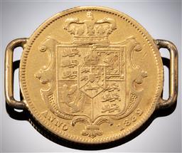Sale 9153C - Lot 320 - AN 1832 WILLIAM IV GOLD SOVEREIGN; soldered with bracelet links, wt. 8.09g.