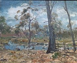 Sale 9214A - Lot 5012 - LANCE SOLOMON (1913 - 1989) Creek in Landscape oil on board 24 x 29 cm (frame: 36 x 41 cm) signed lower right