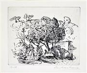 Sale 8347A - Lot 81 - Ian Armstrong (1923 - 2005) - Family Under Tree 10.5 x 13cm