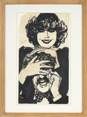 Sale 8779 - Lot 2010A - Artist Unknown - Untitled (Two Figures Joking) 30 x 16.5cm