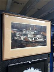 Sale 8906 - Lot 2062 - Kenneth Jack (1924 - 2006) Paddle Steamer Gem colour screenprint, ed. 46/50, 37.5 x 67cm, signed -