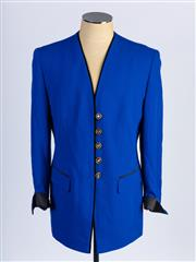 Sale 8926H - Lot 66 - A BASLER electric blue blazer with black satin cuffs and piping featuring gold, black and diamante buttons, size 42