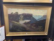 Sale 8924 - Lot 2040 - James Hutchings (1872 - 1962) - Blue Mountain Vistaoil on board. 78 x 116cm, signed