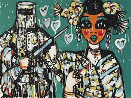 Sale 9157A - Lot 5005 - YOSI MESSIAH (1964 - ) Ned & Hoy Na, 2020 mixed media on board (unframed) 75 x 100 cm signed lower left, dated and titled verso