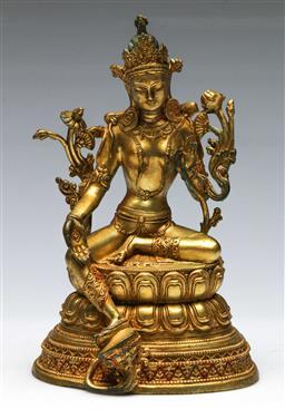 Sale 9156 - Lot 87 - A gilt bronze Chinese deity (H:22cm)