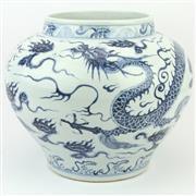 Sale 8356A - Lot 14 - Long Yun Blue & White Dragon Jar