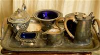 Sale 8392H - Lot 84 - A group of EP wares including tray tea and coffee pots, bowls with blue glass liners