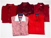 Sale 8550F - Lot 66 - Five gents dress shirts, mainly red, including Rossini and Bisse, L-XL.