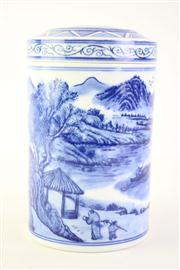 Sale 8818 - Lot 247 - Blue And White Cylindrical Lidded Chinese Vase H:17cm