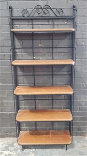 Sale 8971 - Lot 1069 - Metal and Timber Open Shelving (H:191 x W:78 x D:28cm)