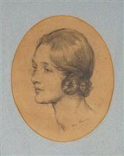 Sale 9047 - Lot 580 - Dora Meeson (1869 - 1955) - Portrait of Yvonne Gregory 23 x 18.5 cm (frame: 40 x 33 x 2 cm)