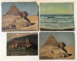 Sale 9142A - Lot 5004 - WILL ASHTON (4 works) (1881 - 1963) - Sphinx and Pyramid; Cairo Egypt, 1925; Egypt, 1925: Tintern Abbey, Seascape 34cm x 44cm; 38.5c...