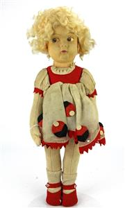 Sale 8330T - Lot 88 - Messina Vat Torino Lencci Type Felt Doll; painted features (one ear missing), mohair wig, original felt and organza dress and shoes...