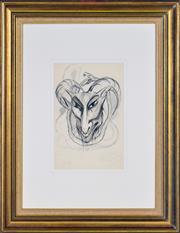 Sale 8382 - Lot 524 - Rosaleen Norton (1917 - 1979) - Demonic Figure and Snake 31.5 x 20.5cm (frame size: 70 x 54cm)