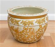 Sale 8562A - Lot 55 - A Chinese yellow jardiniere decorated with gilt floral patterns, marked to base, H 32 x D 24cm