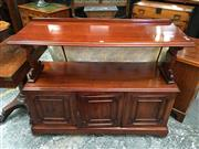 Sale 8666 - Lot 1025 - Victorian Mahogany Dumbwaiter, with open shelf on end supports, above three panel doors (Key in Office)