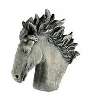 Sale 8660A - Lot 13 - A large cast stone horse head garden finial statue, H 57cm, some small wear / chips