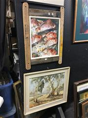 Sale 8702 - Lot 2082 - 2 Artworks: A. Addison, Fish on Ice, oil, SLL 45x37cm; M. McDonald, Landscape with Gum Trees, oil SLR, 44x54.5cm