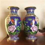 Sale 8795K - Lot 246 - A fine pair of cloisonne vases