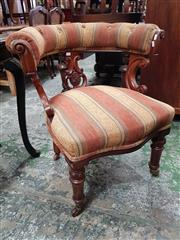 Sale 8814 - Lot 1035 - Victorian Mahogany Tub Form Armchair, with carved splat, the top rail & seat upholstered in red & yellow striped fabric, raised on t...
