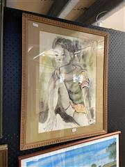 Sale 8891 - Lot 2091 - Artist Unknown - Portrait of a Young Girl, 1979 charcoal and watercolour, 64.5 x 53.5 cm, signed upper left