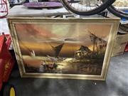 Sale 8924 - Lot 2082 - Artist Unknown - Oriental Port Scene, oil on board, signed