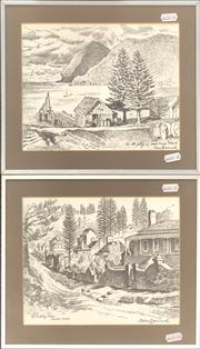 Sale 9058 - Lot 2035A - Cedric Emanuel (2 works); Norfolk Island & Lord Howe; Power Island; pencil drawings; each signed; frame: 27 x 31 cm.