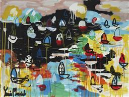 Sale 9157A - Lot 5020 - YOSI MESSIAH (1964 - ) Into Dusk, 2020 mixed media on board (unframed) 75 x 100 cm signed lower left, dated and titled verso