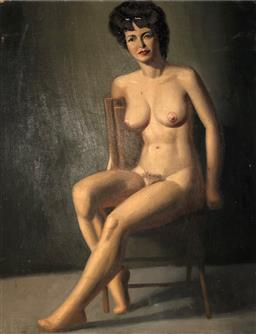 Sale 9142A - Lot 5005 - C20TH AMERICAN SCHOOL - Nude on Chair, c1930 51 x 40 cm