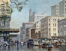 Sale 9214A - Lot 5015 - DOUGLAS PRATT (1900 - 1972) ParK St. Sydney, c1960 oil on canvas on board 39.5 x 49.5 cm (frame: 57 x 68 cm) signed lower left