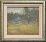 Sale 8286 - Lot 503 - Lance Vaiben Soloman (1913 - 1989) - Bush Working Station 39 x 44.5cm