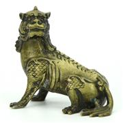 Sale 8342 - Lot 88 - Oriental Gilt Bronze Figure of a Mythical Lion