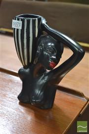 Sale 8338 - Lot 1071 - Barsony Style Black Lady Figurine Vase (marked H-13)