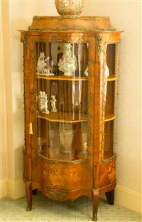Sale 8392H - Lot 87 - A French walnut serpentine front vitrine with ormolu mounts and shelved interior, H 165 x W 95cm
