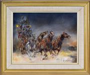 Sale 8401 - Lot 539 - Patrick Kilvington (1922 - 1990) - Night Run to Oxen Ford, 1988 39 x 49.5cm