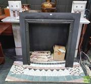 Sale 8444 - Lot 1044 - Victorian Carrara & Rose Marble Fireplace, with reeded & columned fascia, having cast iron insert & modern loose tiled flooring