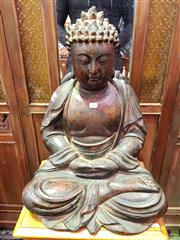 Sale 8601 - Lot 1181 - Carved Timber Seated Buddha Figure (H: 59 W: 44 D: 34cm)