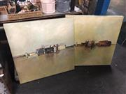 Sale 8819 - Lot 2163 - Pair of Abstract Paintings by Unknown Artists, 70 x 70cm, each -