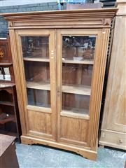Sale 8848 - Lot 1082 - Antique Style Pine Bookcase, with two glass panel doors & timber shelves