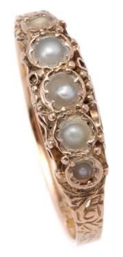 Sale 9037 - Lot 371 - A 15CT GOLD VICTORIAN PEARL RING; set with 5 graduated natural pearls on carved sides and shoulders, hallmarked J&A Birmingham 1900,...