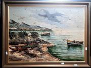 Sale 9061 - Lot 2019 - Giodani, Fishing Boats, Oil, SLR, 49.5x68cm