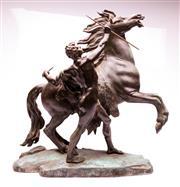 Sale 9081 - Lot 54 - Large Bronze Figural Group depicting a Man Taming a Horse (H57cm x W47cm x D18cm)