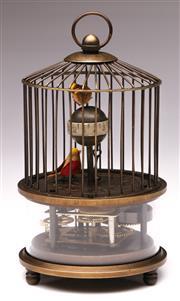 Sale 9078 - Lot 189 - A Reproduction Birdcage Form Clock (H 17cm)
