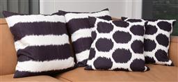 Sale 9150H - Lot 22 - A group of four navy and white cushions, 50 x 50cm
