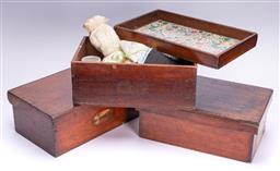 Sale 9190E - Lot 15 - A group of three timber lidded boxes consisting of sewing threads and ribbons, box Height 16cm x Width 40.5cm x Depth 25cm
