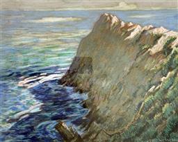 Sale 9214A - Lot 5016 - NORMAN LLOYD (1897 - 1985) Sea Cliffs pastel 31.5 x 39 cm (frame: 62.5 x 68.5 cm ) signed lower right